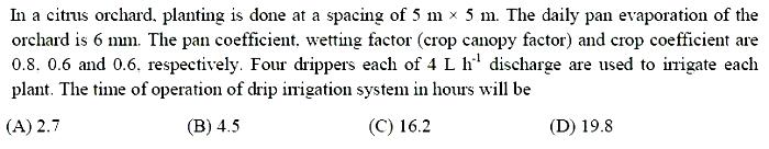 online practice test - Agricultural Engineering